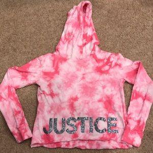 Justice Pink Tie dye Cropped Hoodie